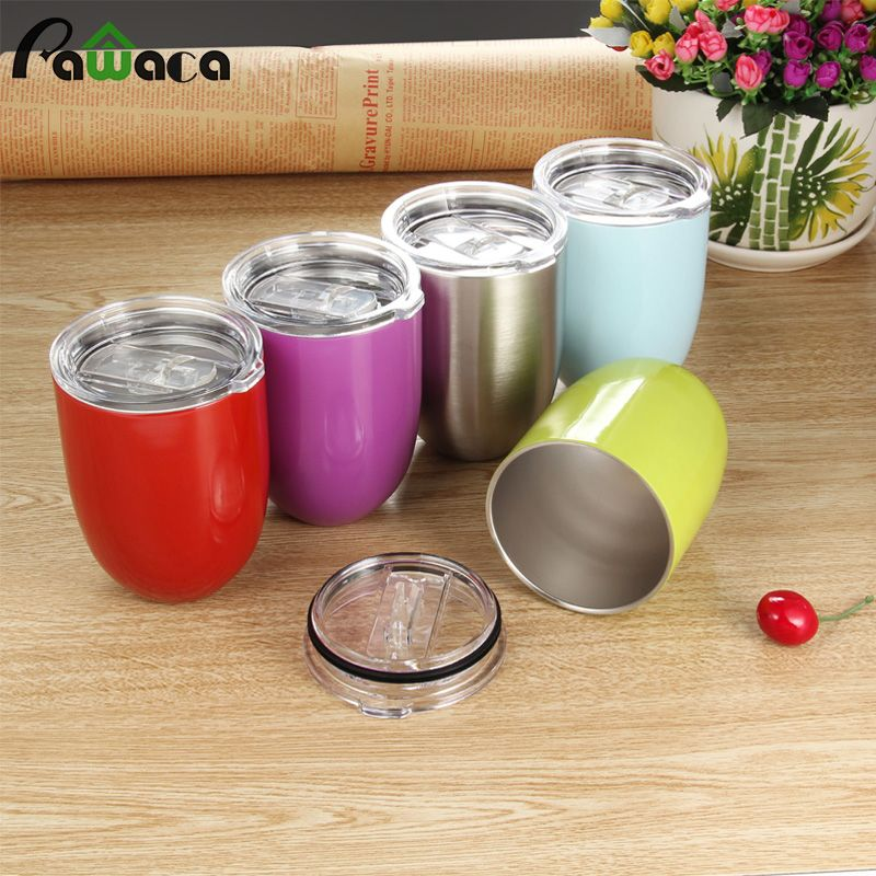 10oz Portable Stainless Steel Wine Glass Eggshell Double Layer Vacuum Cup-Safe Shatterproof Unbreakable Dishwasher Drinking Cup