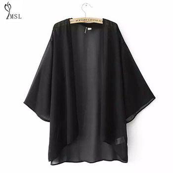 Chauve-souris Manches Kimono Cardigan Casual Solide V-cou Femmes Blouses D'été Plus La Taille Chemises Cadrage En Mousseline de Soie Tops Lâche **