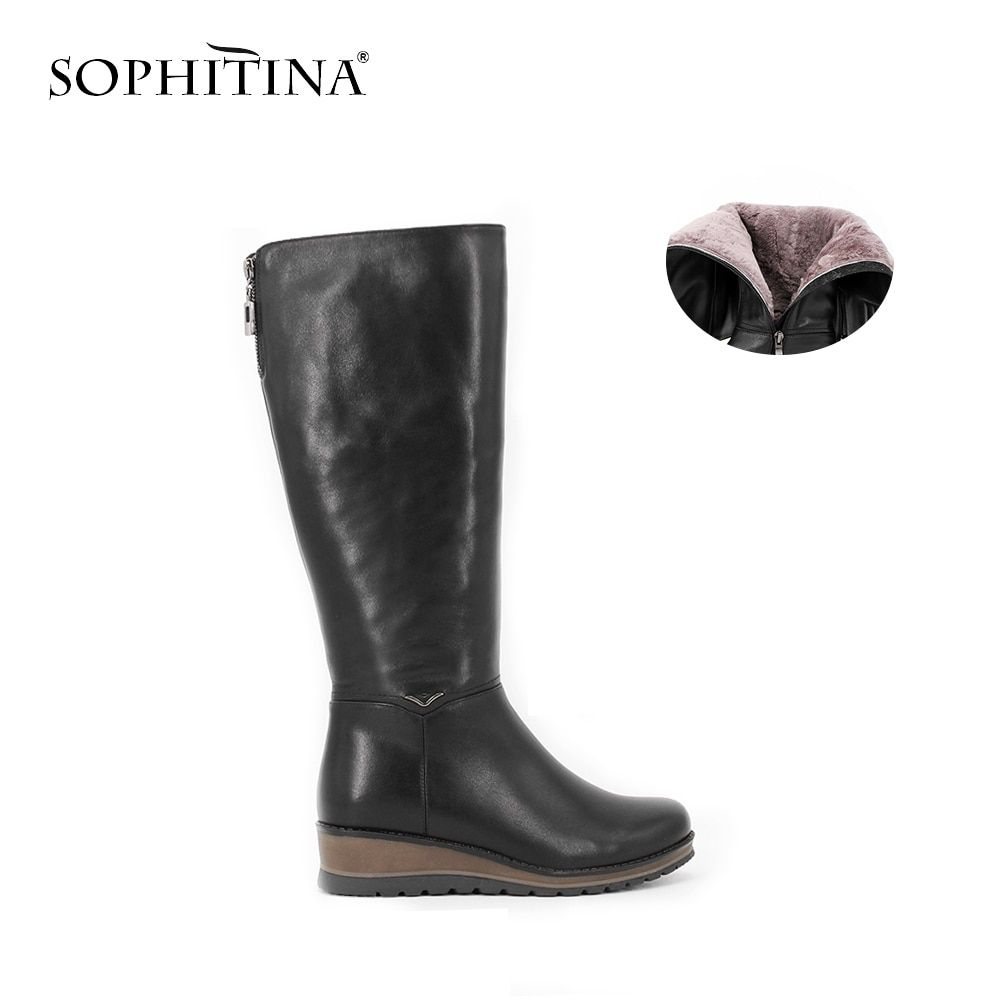 SOPHITINA Brand Cow leather kid suede knee-heel fur Plush boots Woman Handmade Genuine Leather wool Round Toe Wedges shoes B25