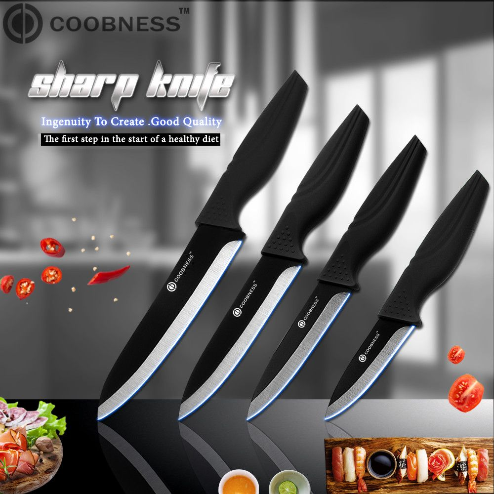 COOBNESS Brand Ceramic Knife 3 inch 4 inch 5 inch 6 inch Kitchen Knives Zirconia Black <font><b>Blade</b></font> Fruit Chef Knife Vege Cooking Tool