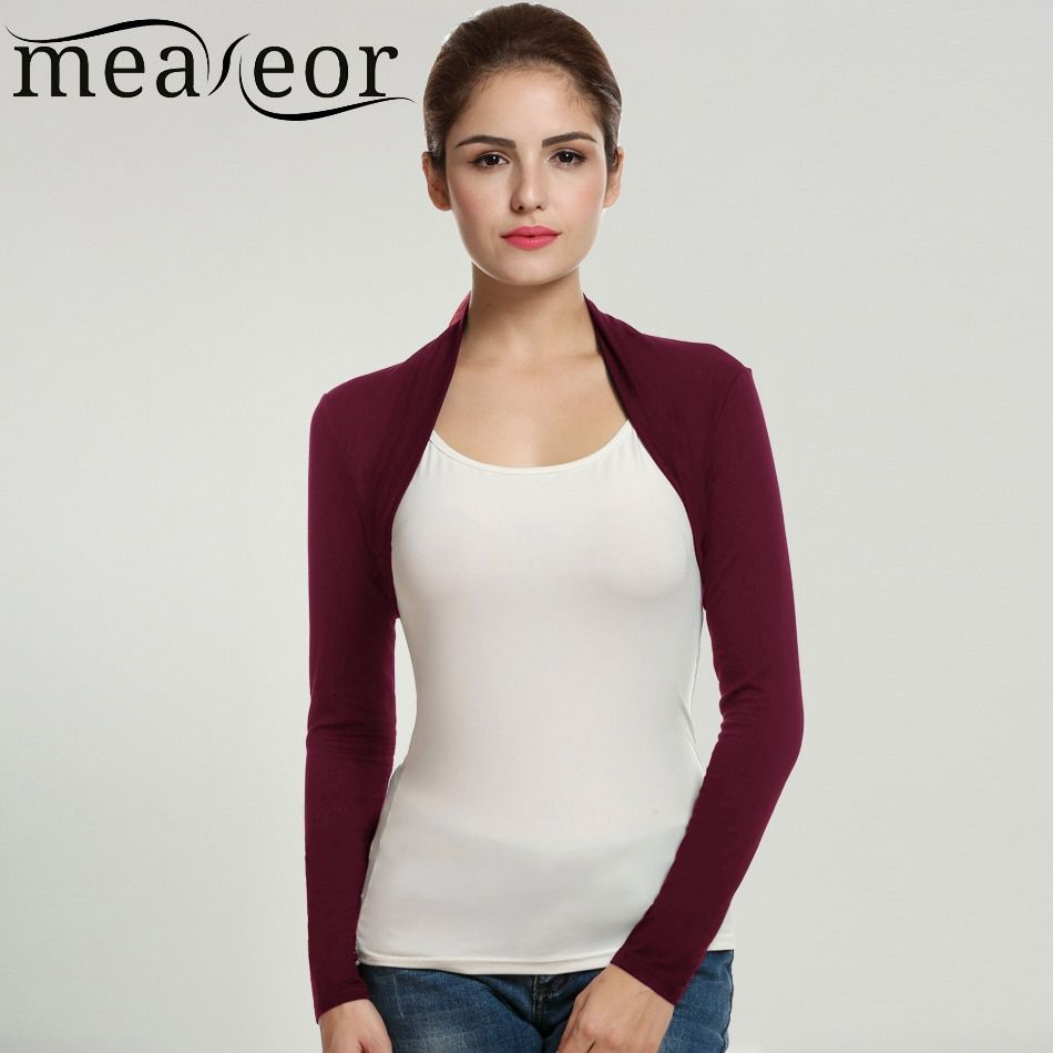 Meaneor Brand Cardigan Women Short Shrug Tops Autumn Casual Fashion Long Sleeve Solid Stretchy Fabric Open Stitch Black Cardigan
