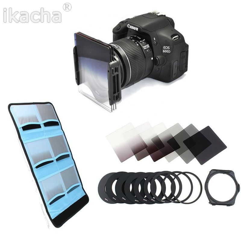 49 52 55 58 62 67 72 77 82mm Metal Adapter Ring 6 Cokin P Series Filter Set Full Gradually ND2 ND4 ND8 Bag Square Filter