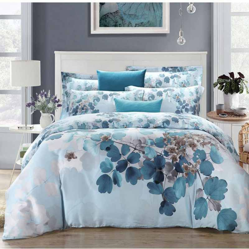 Super Soft Tencel/Silk Bedding Set King Queen Size 4pcs Luxury Bedclothes Bed Sheets Duvet Cover Pillowcase Fast Shipping