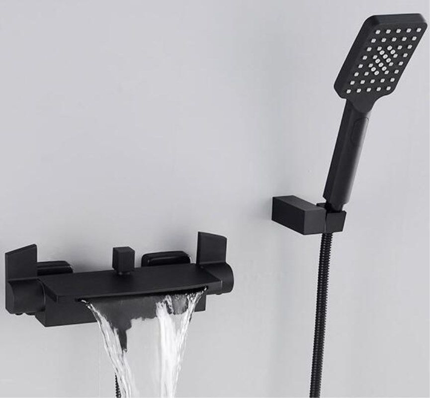 Wall Mounted Bathroom Faucet Black Oil Brushed Bath & Shower Faucet hand held Shower Faucet Sets Bathtub Faucet Set