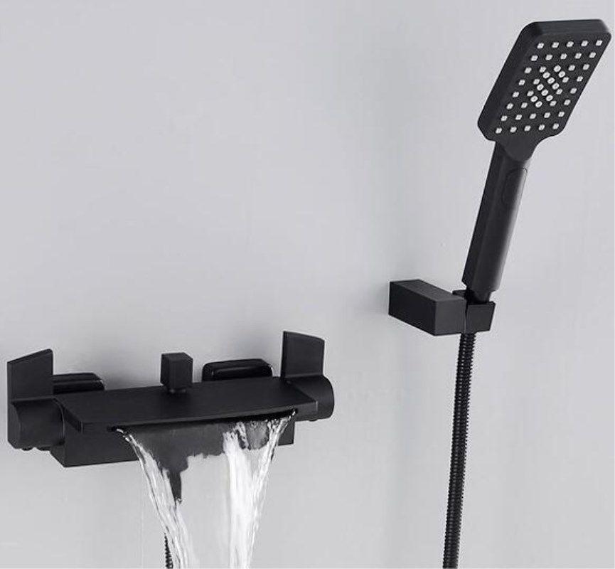Wand Montiert Bad Wasserhahn Schwarz Öl Gebürstet Bad & Dusche Wasserhahn hand Dusche Wasserhahn Sets Badewanne Wasserhahn Set