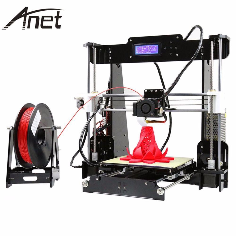 Anet A6 A8 Plein Acrylique Cadre 3D Couleur Impression Imprimante DIY Kit Filament SD Carte LCD Écran Affichage i3 + 16 GB carte