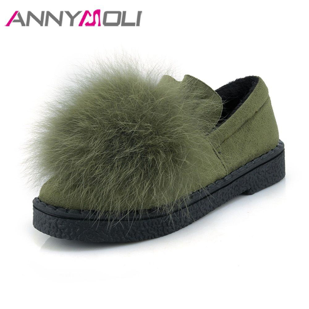 ANNYMOLI Women Shoes Winter Real Rabbit Fur Platform Flats Warm Loafers Ladies Shoes Slip On Shoes Autumn Green Big Size 44 45