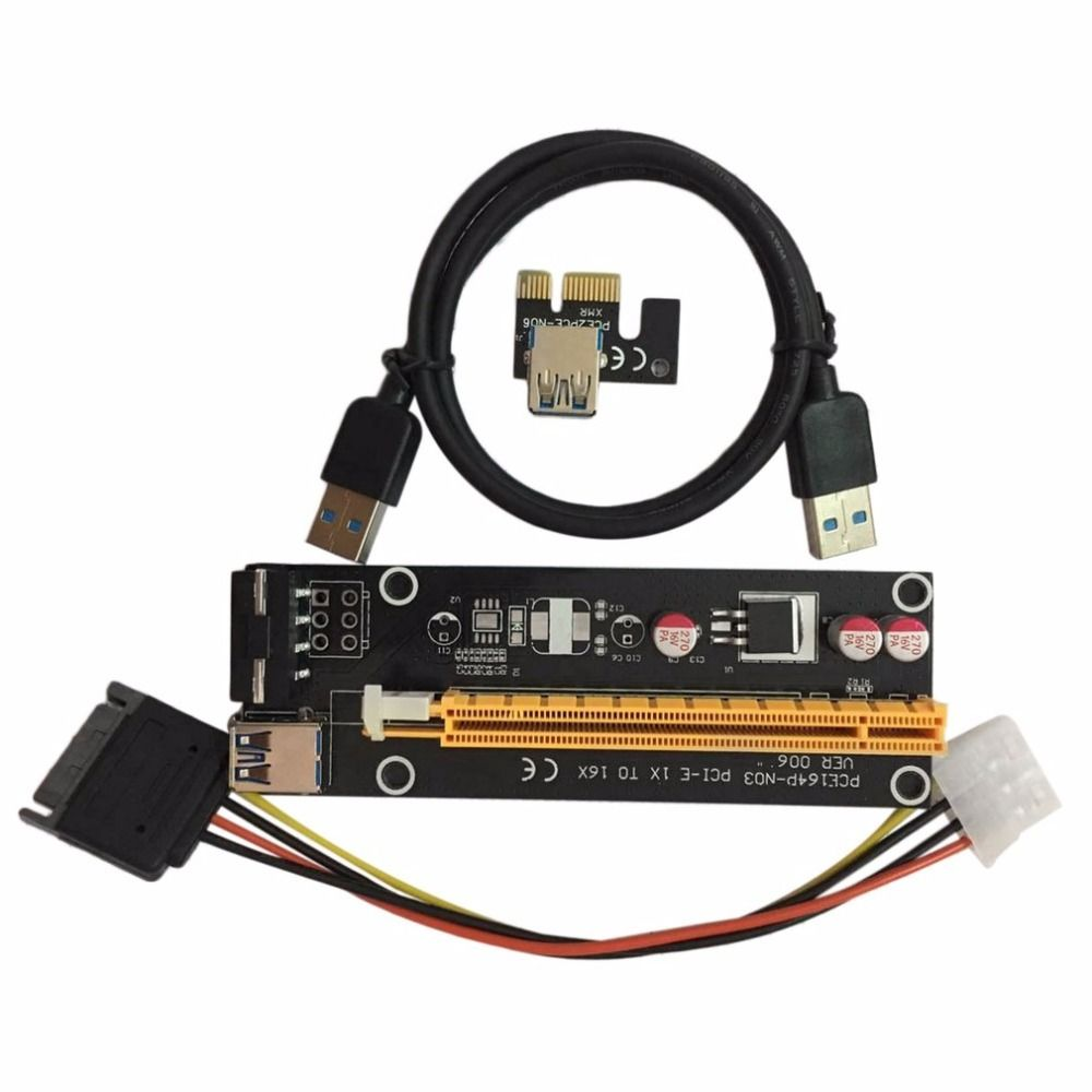 2 stücke PCI-E PCI Express 1X zu 16X Riser-karte mit USB 3.0 Kabel & SATA auf 4Pin IDE Netzkabel Molex Strom für BTC Miner Maschine