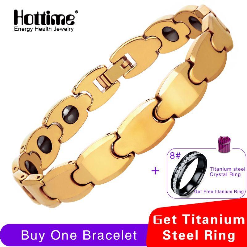 Hottime Pur D'or De Tungstène Acier Hommes de Mode Santé Guérison Magnétique bracelet germanium D'énergie Bracelets Bracelets Pour Hommes
