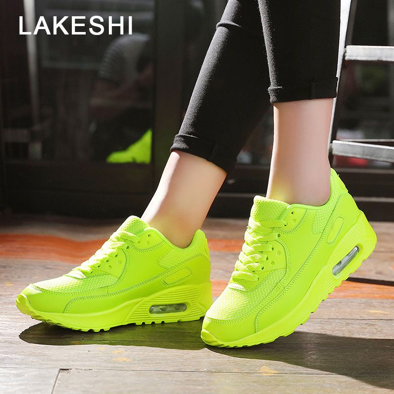 LAKESHI 2018 Fashion Sneakers Women Casual Shoes Female Sneakers Breathable Mesh Shoes Lace-Up Ladies Shoes Large Size 36-44