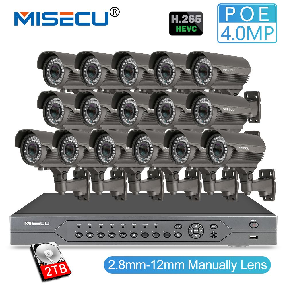 MISECU H.265 16CH POE 48V NVR Kit with 16 PCS 4MP POE Camera 2.8-12mm Varifocal Lens CCTV System Cloud Supports PC&Mobille View