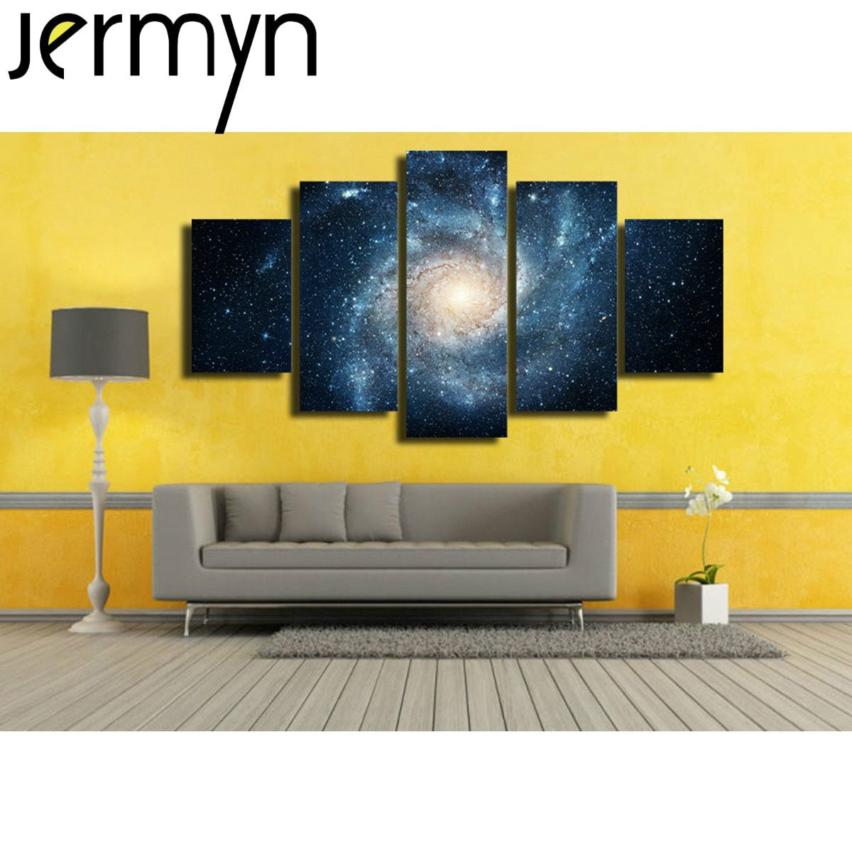 JERMYN 5 Piece Canvas Art Sky Galaxy Picture Painting Abstract Pictures for The Kitchen Home Wall Art Decoration Waterproof