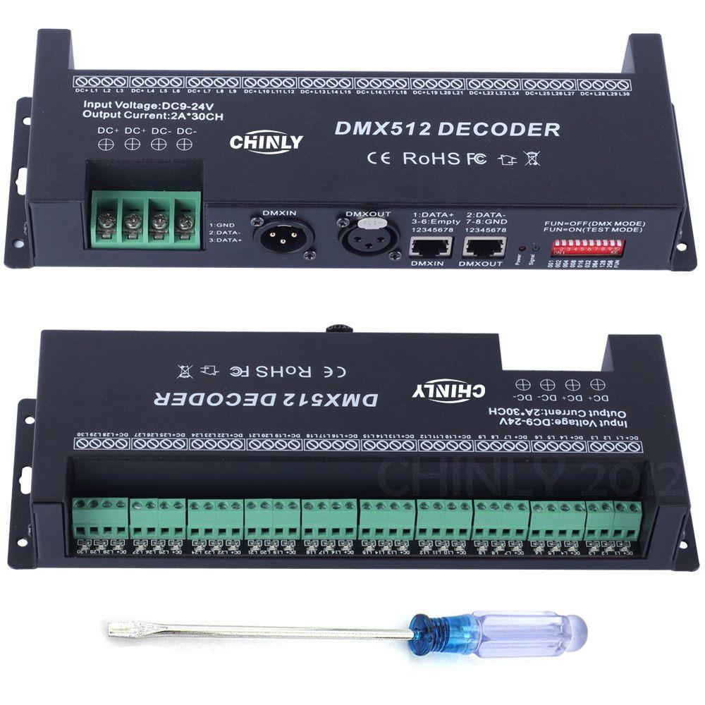 DMX RGB Contrôleur Décoré bande lumineuse led DMX 512 Décodeur 30 Canaux Dimmer DC 9 V-24 V Pilotes Contrôleurs offre spéciale