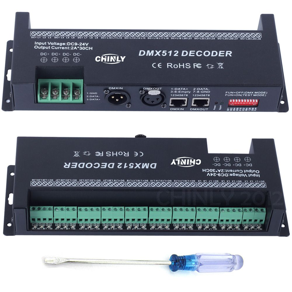 DMX RGB Controller Decorated LED Strip Lighting DMX 512 Decoder 30 Channels Dimmer DC 9 V- 24 V Drivers Controllers Hot Selling