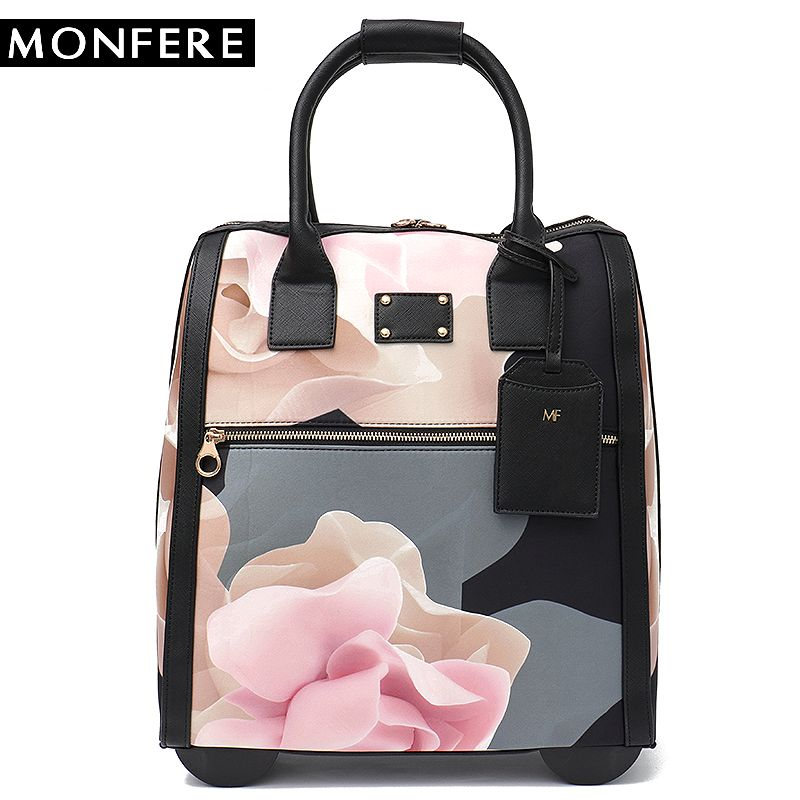 MONFERE Luggage Metal Trolley Travel Bags Flower Suitcase on Wheels Valise Bagages Roulettes Hand Trolley Board Chassis Package