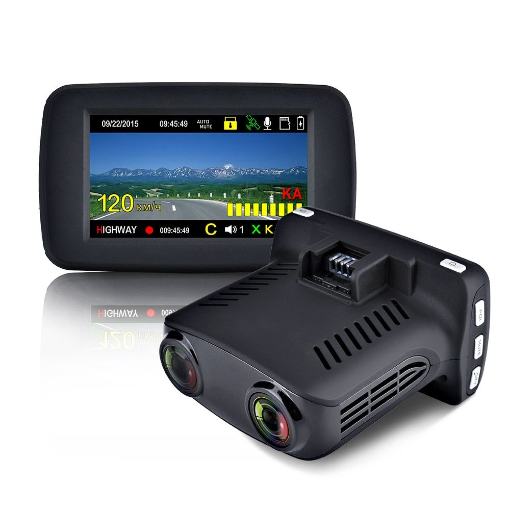 Luturadar car dvr radar detector dash cam anti police laser speed camera Russian voice alert Ambarella A7 with full band