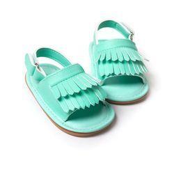 Venta caliente bebé Sandalias verano ocio moda bebé Niñas Sandalias de niños pu borla zuecos Zapatos 7 colores