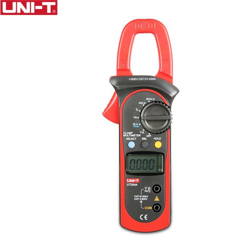 UNI-T UT204A 600A AC DC pince numérique mètres avec Test de température plage automatique 600V continuité de tension Buzzer