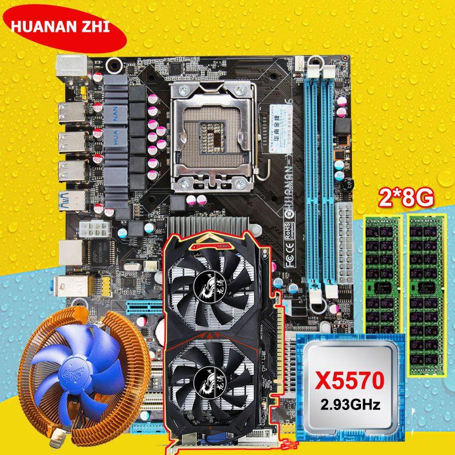 Rabatt motherboard HUANAN ZHI X58 motherboard mit CPU Intel Xeon X5570 2,93 GHz RAM 2*8G DDR3 REG ECC GTX750Ti 2G video karte
