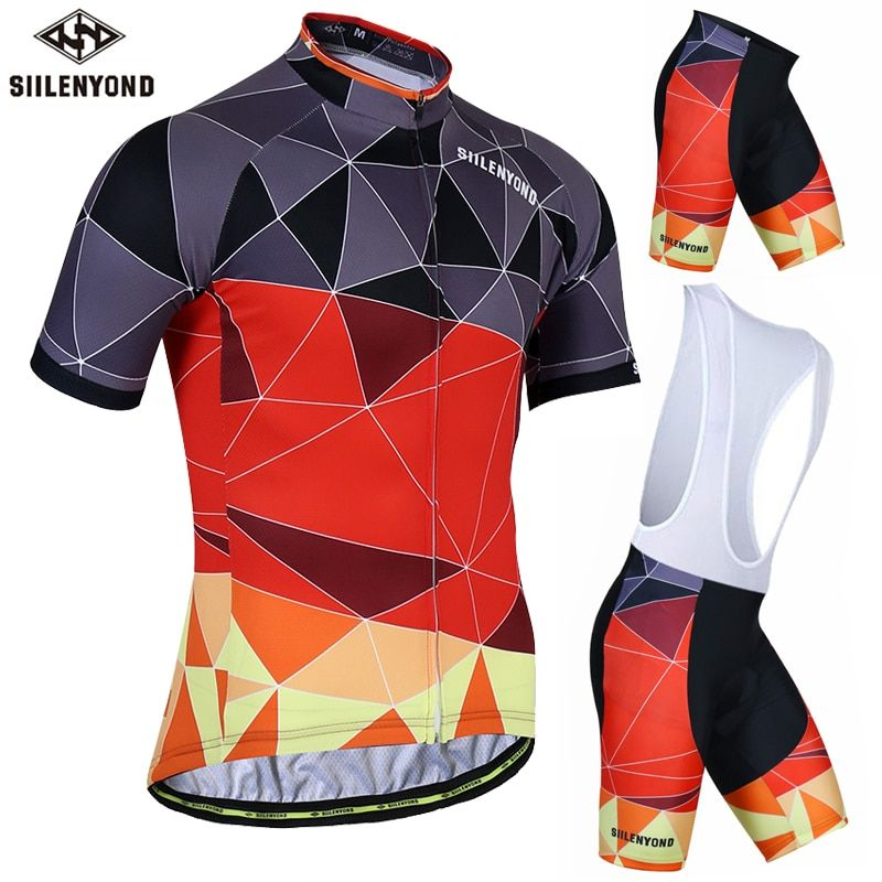 SIILENYOND 2018 Pro Summer Cycling Jersey Short Sleeve Jersey Set Men MTB Quick Dry Cycling Clothing Breathable Bib Clothes