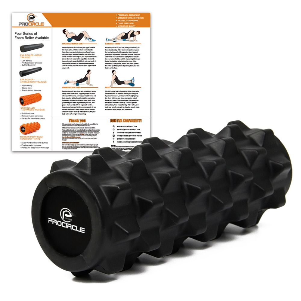 ProCircle 12.5'' Foam Roller Deep Tissue Massage Foam Roller - Extra Firm Yoga Pilates Fitness Gym Physiotherapy Rehabilitation