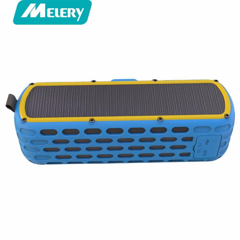 Melery Solar Bluetooth Speaker ES-T60 Outdoor Portable Wireless Waterproof Shockproof Speaker HiFi Bass Sound Mic Flashlight SOS