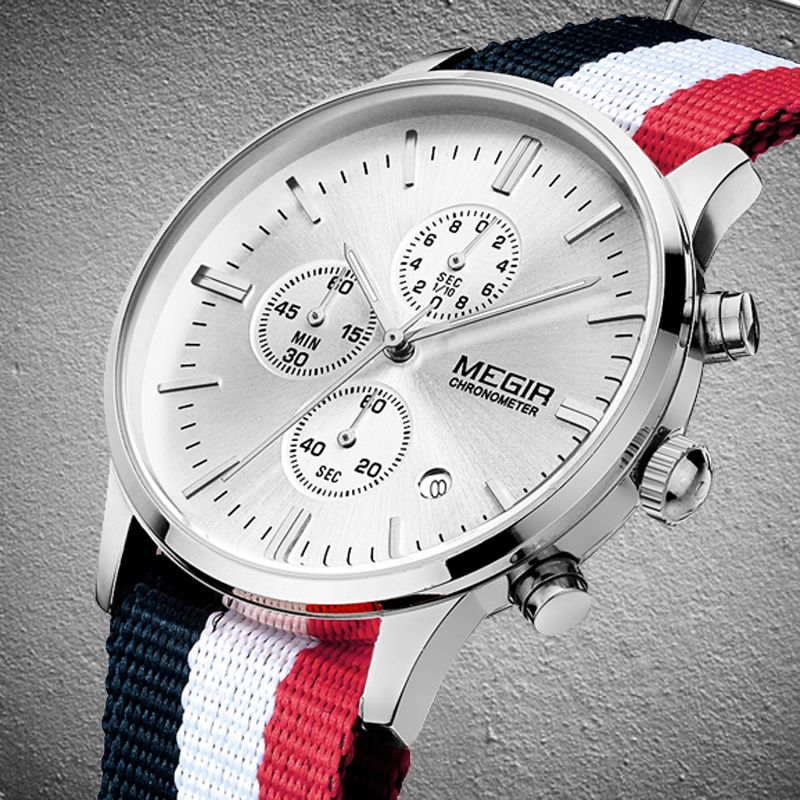 MEGIR Men Discount Sports Watches Men's Quartz Hour Date Clock Nylon Strap Military Wrist Watch