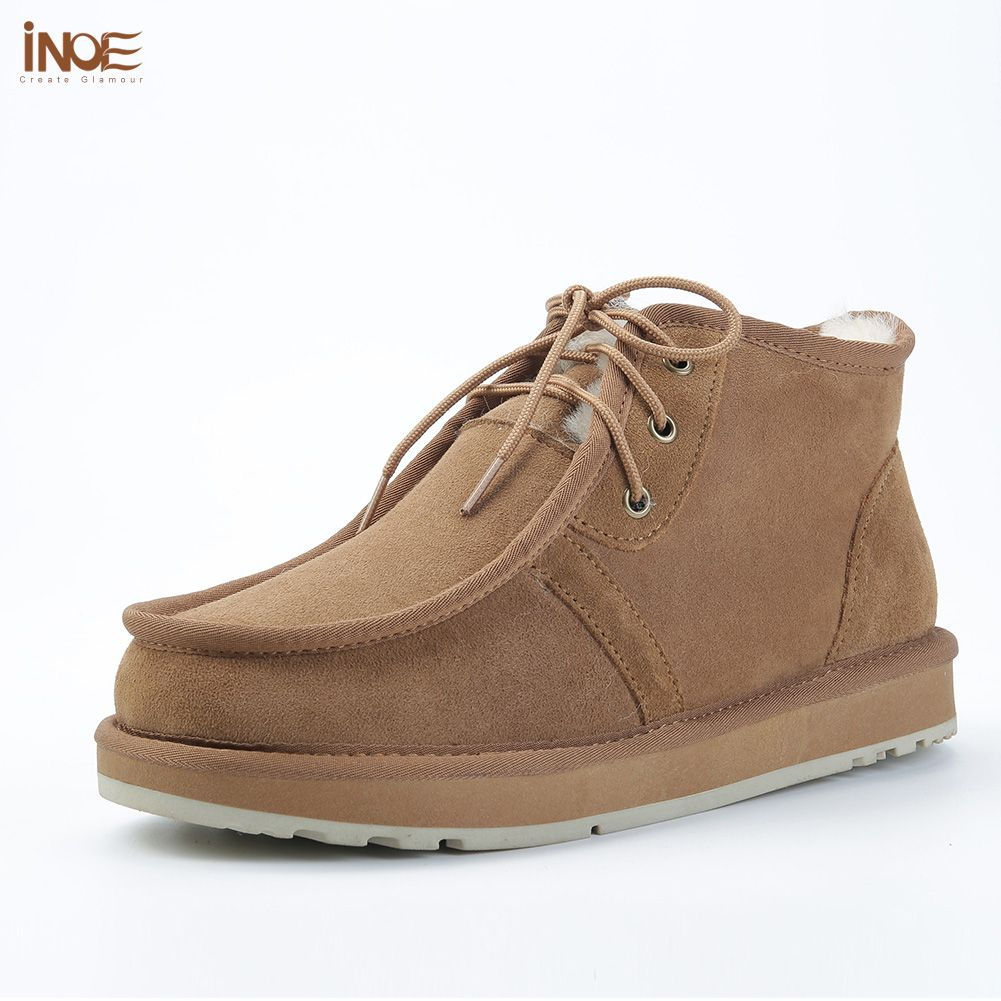 INOE Beckham same style men winter snow boots real sheepskin leather winter shoes fur lined man winter shoes high quality 35-44