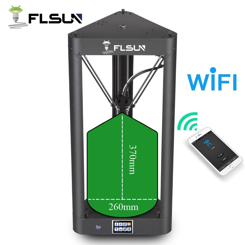 FLSUN Pre-assembled Delta 3d Printer with Printing Size 260X370 Auto Leveling Touch Screen WIFI Remote Control Hot Bed Filament