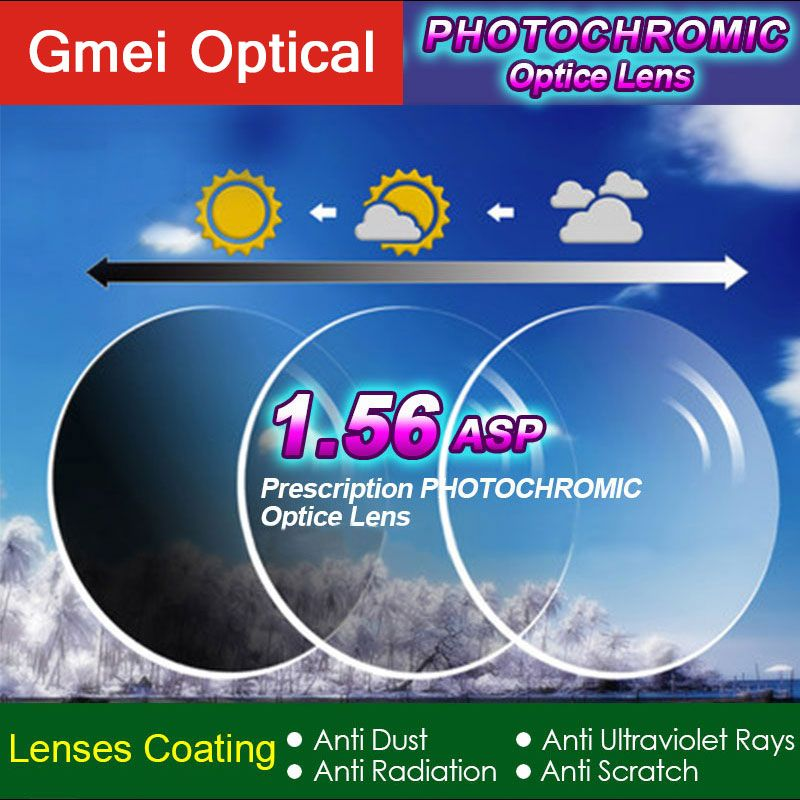 1.56 Photochromic Single Vision Prescription Optical Spectacles Lenses with Fast Color <font><b>Change</b></font> Performance