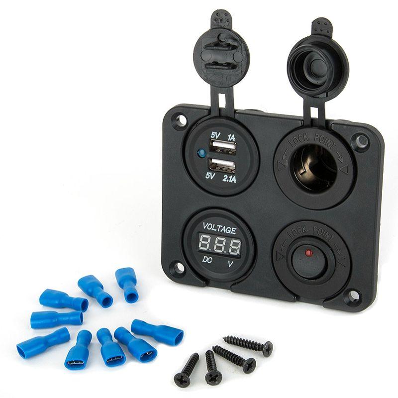 4 Port Étanche 2 Micro USB Chargeur De Voiture Adaptateur Allume-cigare Prise Plug Interrupteur À Bascule Panneau + LED Tension D'affichage