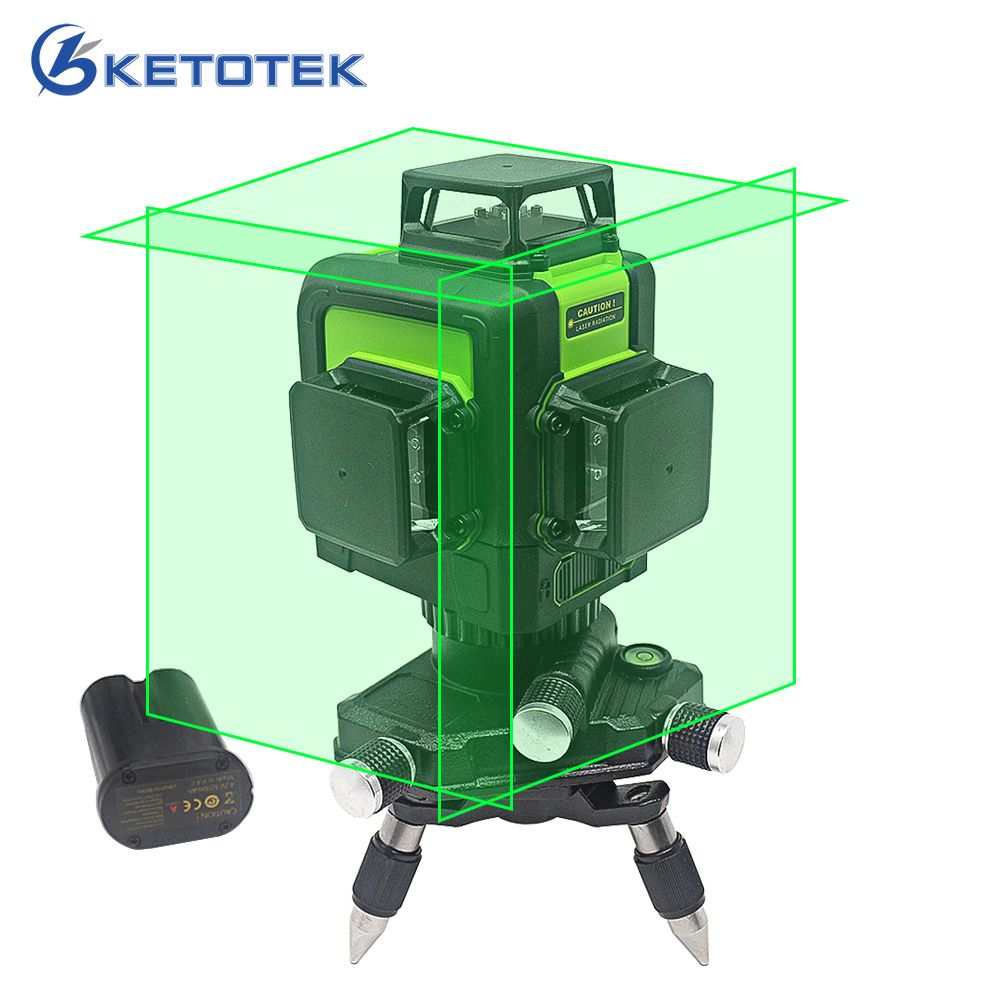 3D Laser Level 12 lines US/EU Plug Self-Leveling 360 Horizontal Vertical Green Laser Beam Line Rechargeable Battery Pulse Mode
