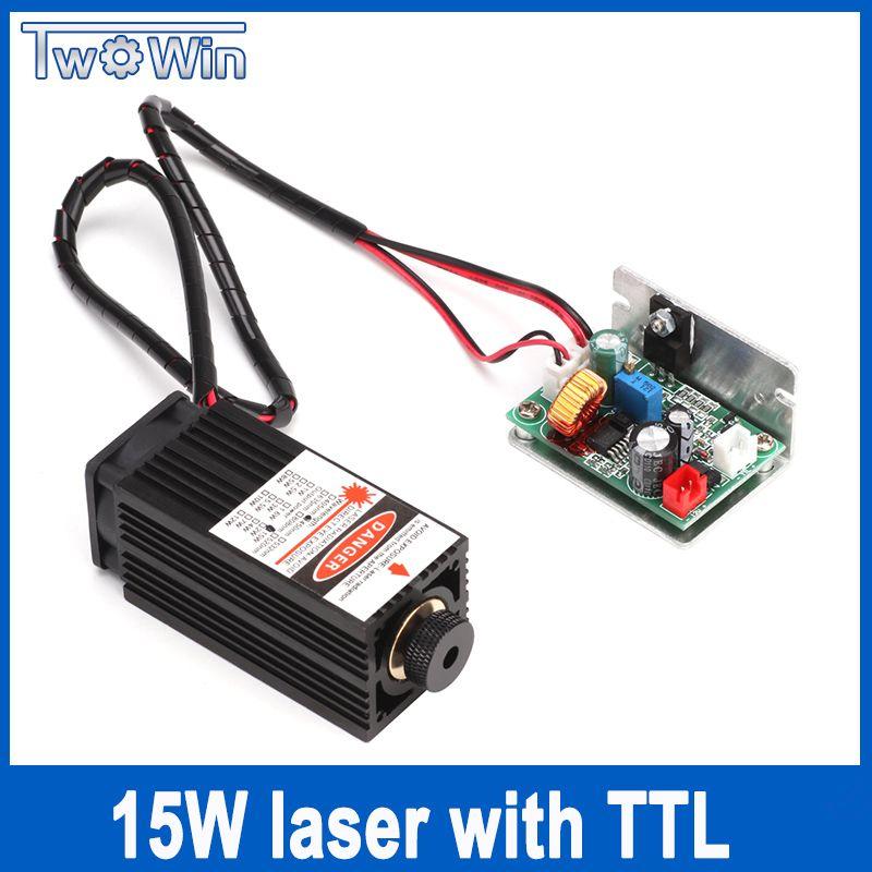 15 Watt Lasermodul 450NM Fokussierung Blau Laser-modul Laser Gravieren und Schneiden TTL Modul 15000 mw Laserröhre + freies Gläser