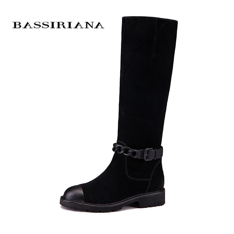 Women boots Genuine leather Winter shoes woman Mid-calf 35-40 Fashion high quality Free shipping BASSIRIANA