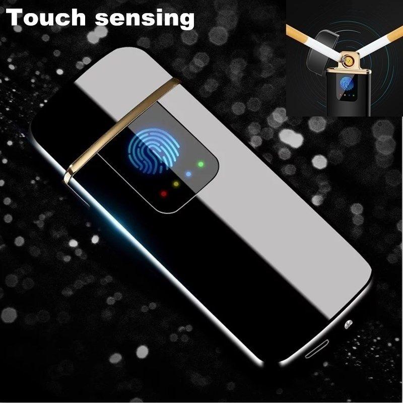 Logo Laser gratuit allume-cigare électrique Usb coupe-vent tungstène Turbo briquet métal Plasma briquets accessoires de fumer