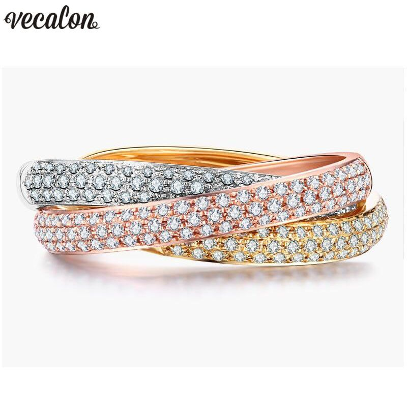 Vecalon 3-in-1 Cross Promise Ring Set 925 sterling silver Pave setting 5A Zircon Cz Engagement rings for women Men Jewelry Gift