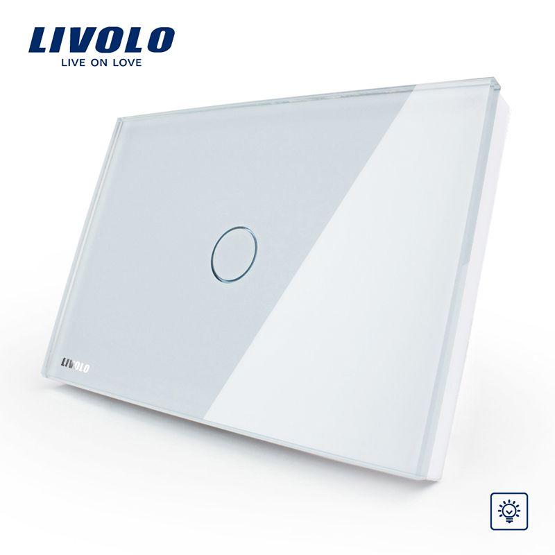 Livolo Manufacturer, White Glass Panel Dimmer Wall Switch, US/AU standard, Light Home 1 Gang 1 Way VL-C301D-81