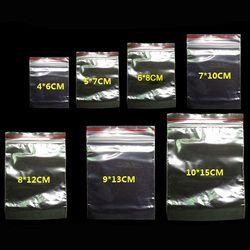 100 pcs/pack Bijoux Zip-Lock Zip Zip Verrouillage Refermable En Plastique Polyéthylène Transparent Sacs Épaisseur 0.05mm