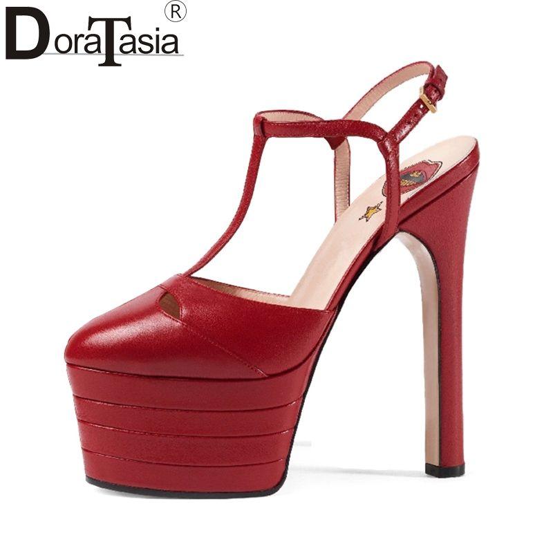 DoraTasia Large Sizes 33-42 Brand Design Summer Women Shoes Woman High Heels Platform Party Wedding Sandals Women 15 Colors
