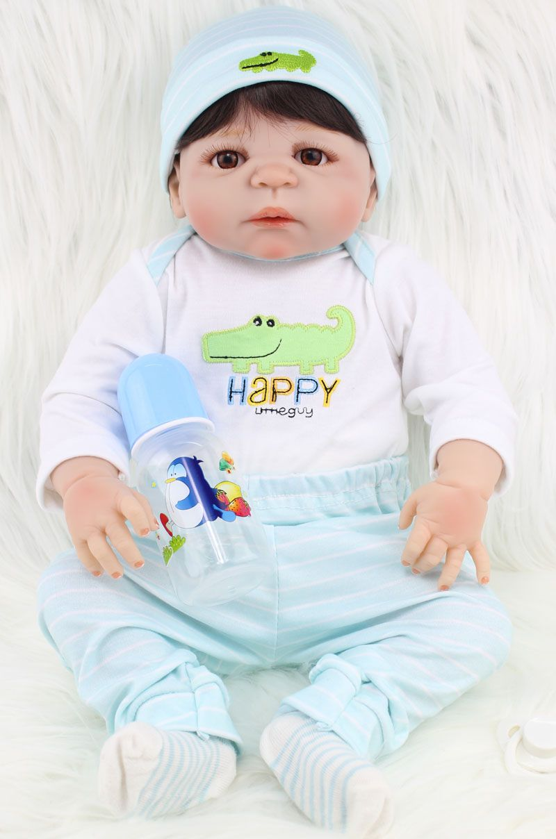New 55cm Full Body Silicone Reborn Baby Doll Toy Lifelike Newborn Boy Babies Toddler Doll Lovely Birt hday Gif t Girl Brinquedos