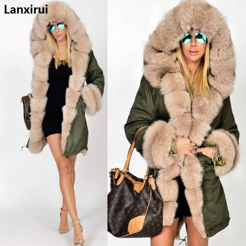 Plus Size S-5XL Winter Jacket Coat 2018 New Fashion Women Hooded Overcoat Faux Fur Cotton Fleece Female Parkas Hoodies Long Coat