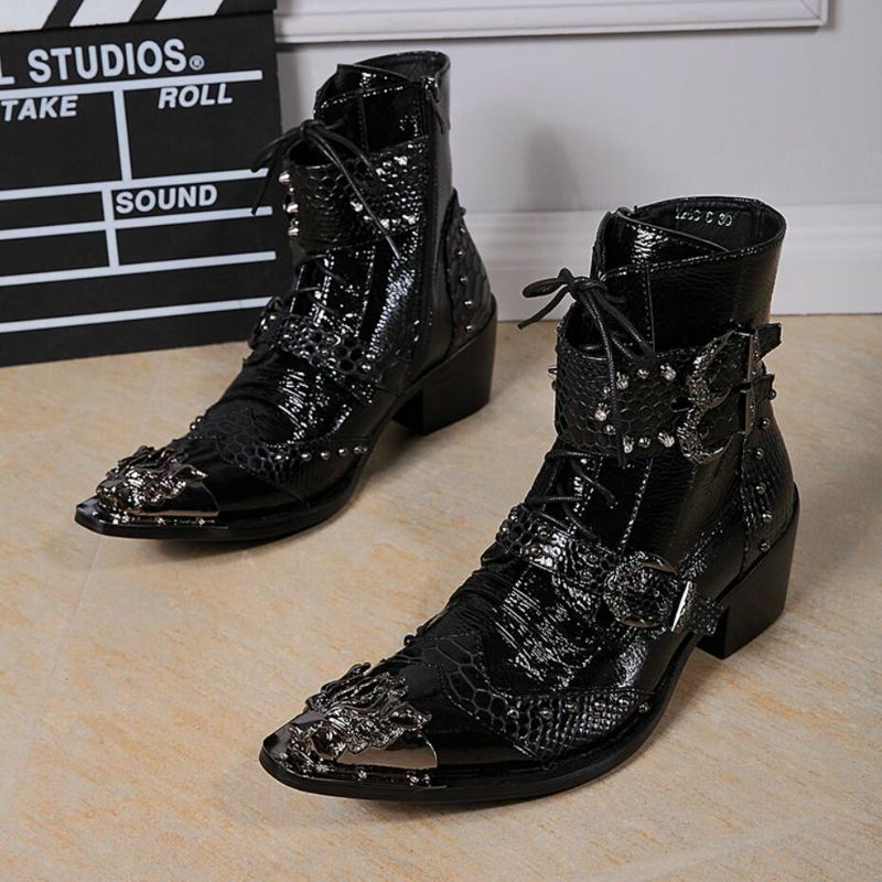 Men's Rivet Motorcycle Boot Metal Toe Fashion Mens Boots Zipper Ankle Boots Men Genuine Leather High Quality Winter Boots' Men