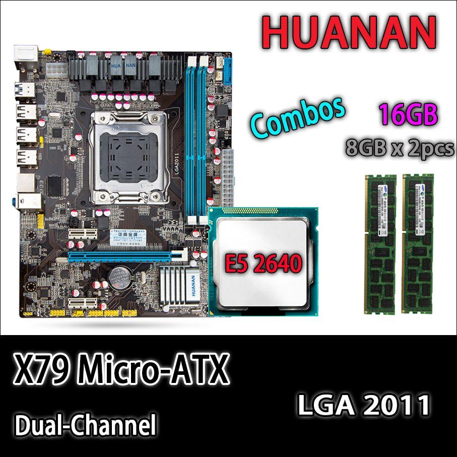 HUANAN golden X79 motherboard micro-ATX X79 LGA 2011 mainboard combos E5 2640 C2 SR0KR 2 x 8GB 16GB 1333Mhz REG ECC DDR3 RAM