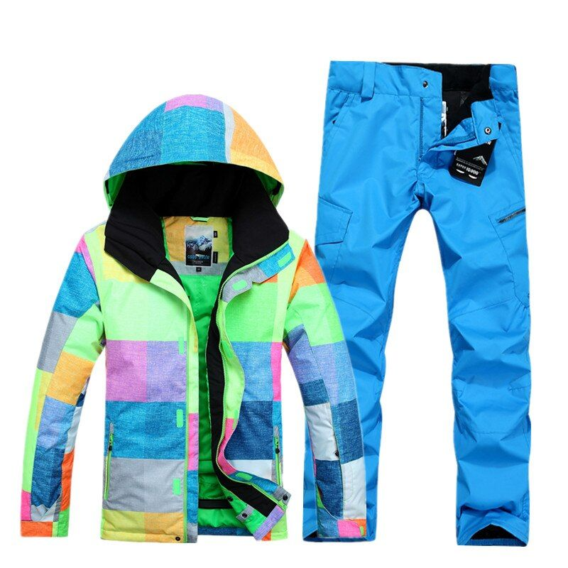 Snow gsou ski suit male suit grid wind proof and warm