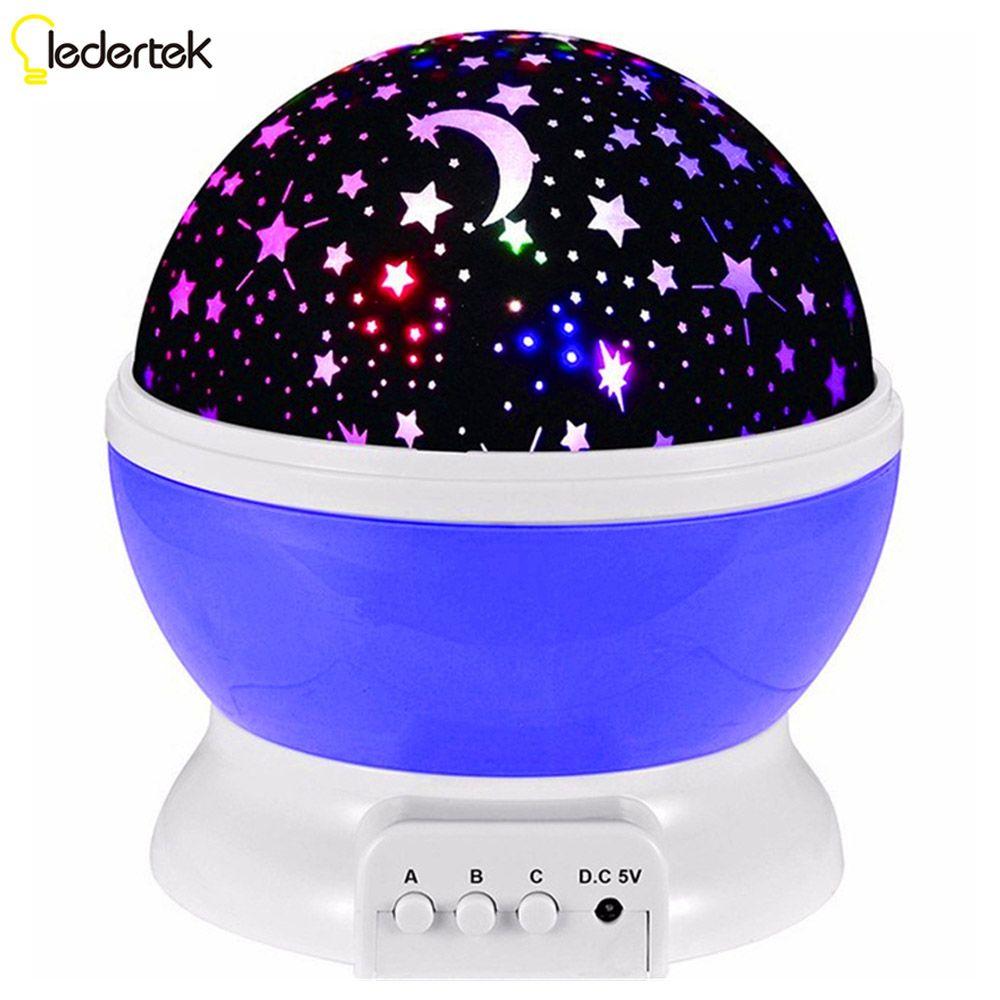 LEDERTEK 100%Brand New Romantic Rotating Star Moon Sky Rotation Night Projector Light with high quality For Kid Bed Lamp(Purple)