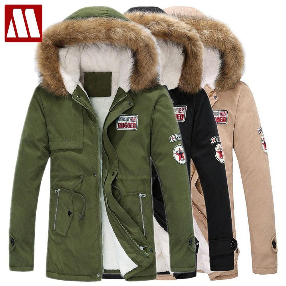 Winter Casual Canada Mens fur collar coat army green outwear coats military man jacket ropa hombre winter jacket men Parka Coats