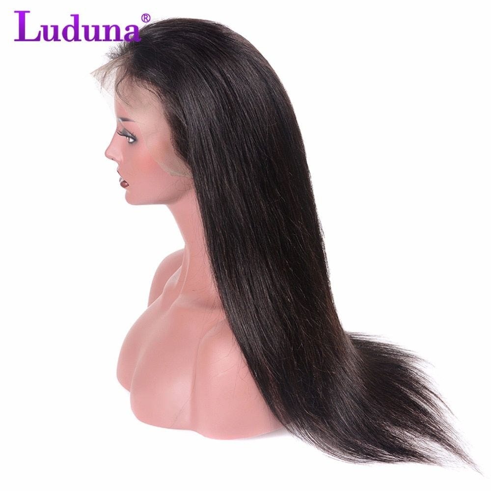 Luduna Lace Front Human Hair Wigs For Black Women 8-24Inch Peruvian Straight Hair Lace Wig With Baby Hair Non Remy Hair