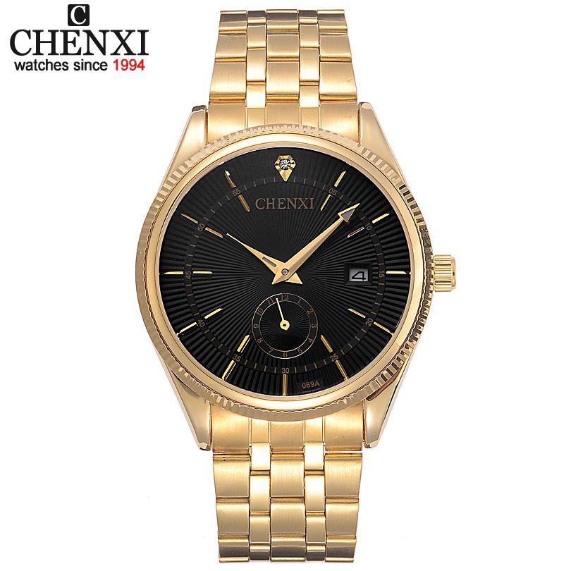 CHENXI Gold Watch Men Watches Top Brand Luxury <font><b>Famous</b></font> Wristwatch Male Clock Golden Quartz Wrist Watch Calendar Relogio Masculino