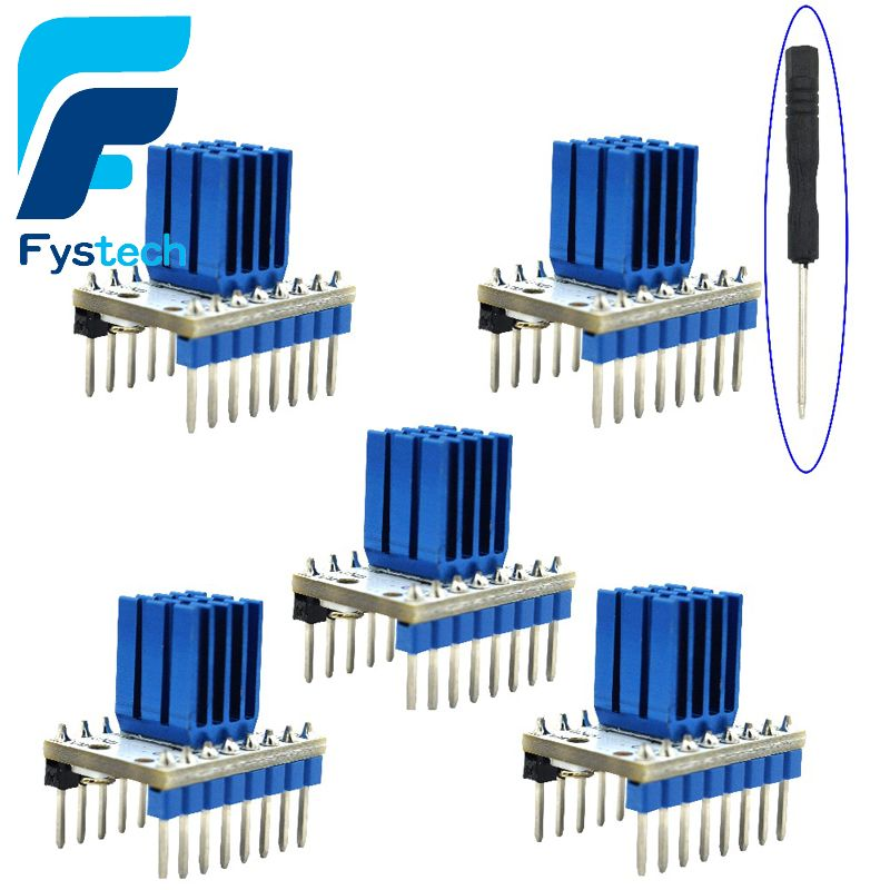 5pcs TMC2208 Stepping Motor Mute Driver Stepstick Power Tube Built-in Driver Current 1.4A Peak Current 2A  Replace TMC2100