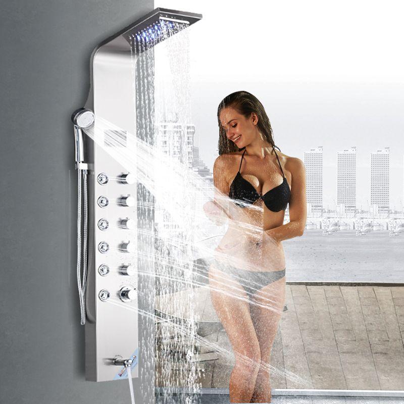 Gebürstet Nickel Dusche Spalte Wasserhahn Led Licht Wand Montieren Bad Bad Dusche System SPA Massage Sprayer Temperatur Bildschirm Zeigen